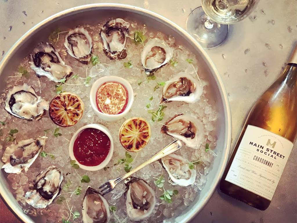 Oysters at Libertyville wine bar and restaurant Main Street Social