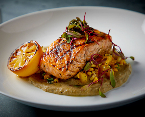 Salmon grilled fresh fish at Main Street Social restaurant in libertyville